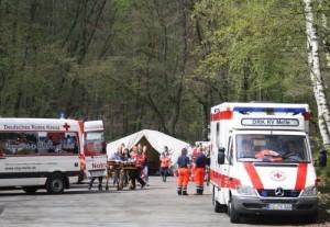 Im Einsatz: Kräfte des Deutschen Roten Kreuzes am Behandlungsplatz unweit des Weberhauses. Foto: Stadt Melle